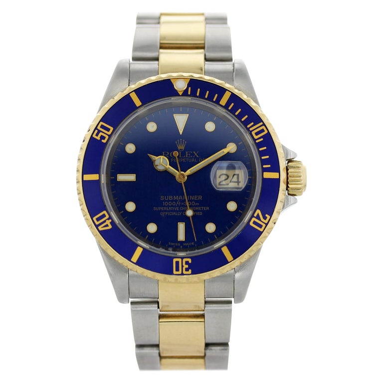Rolex Oyster Perpetual Submariner Date 18 Karat 16613 Men's Watch For Sale