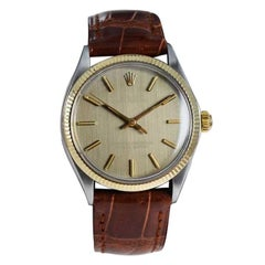 Rolex Oyster Perpetual Two Tone with Rare Vertical Grained Gold Dial from 1972