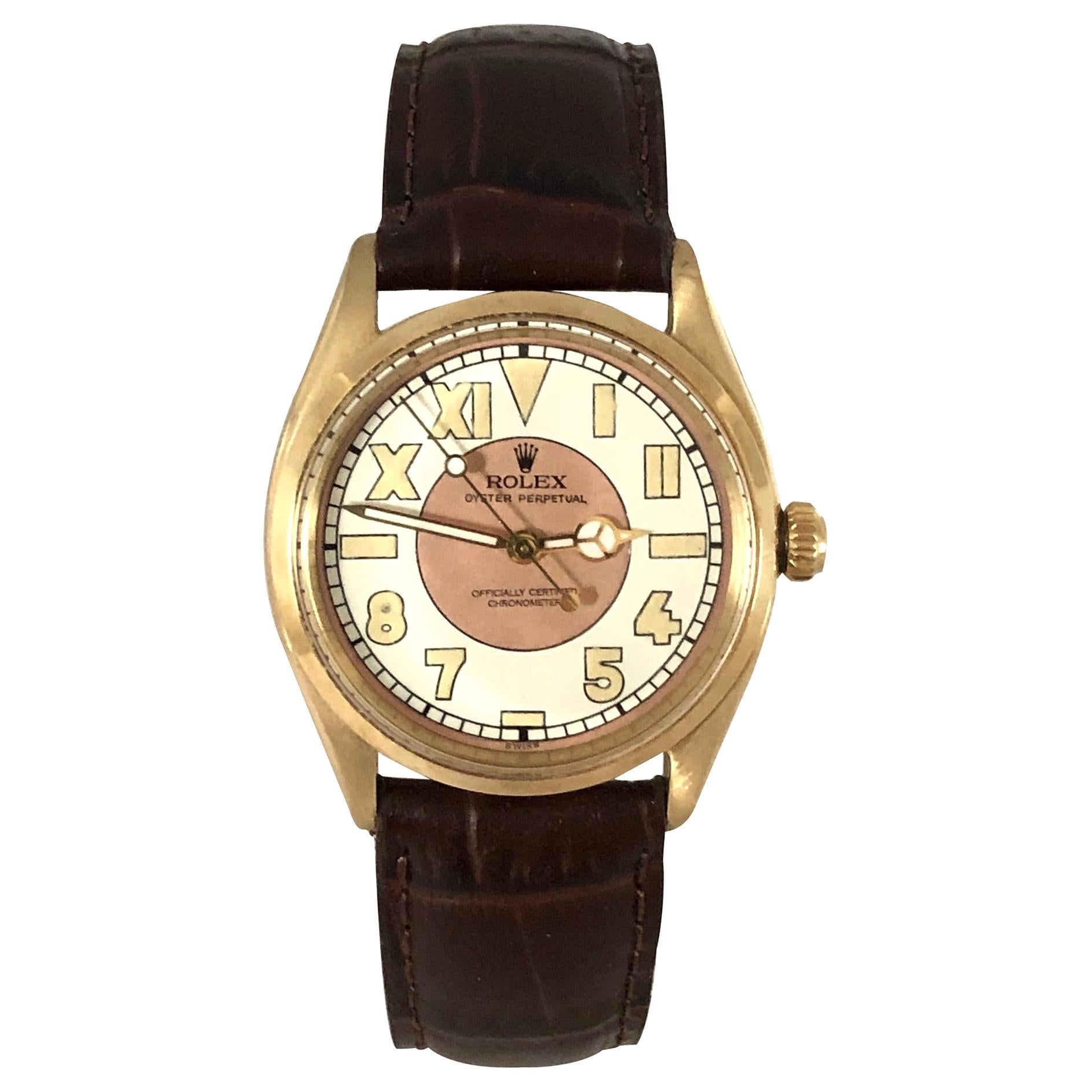 Rolex Oyster Perpetual Vintage Gold Automatic Wristwatch with Bubble Back Dial