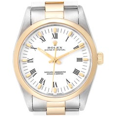Rolex Oyster Perpetual White Dial Steel Yellow Gold Men's Watch 14203