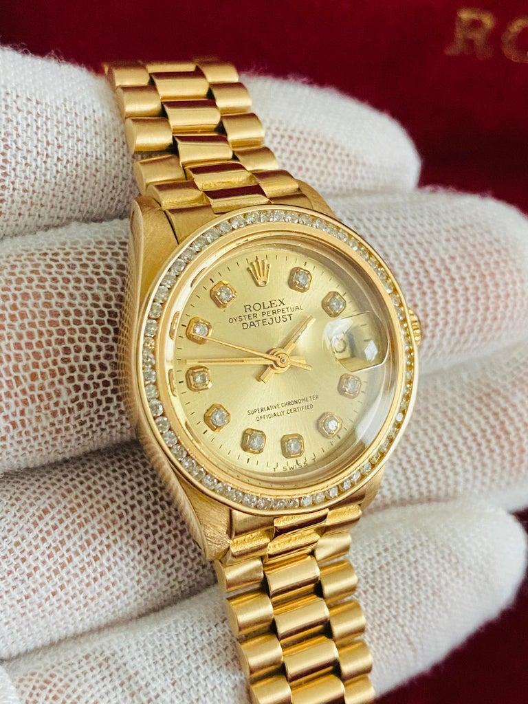 Modern Rolex Oyster Prepetual Datejust Diamond Dial Diamond Bezel Gold Watch