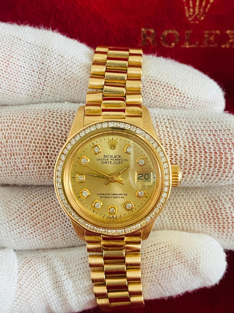Round Cut Rolex Oyster Prepetual Datejust Diamond Dial Diamond Bezel Gold Watch