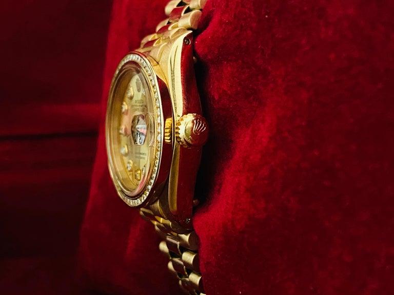 Women's Rolex Oyster Prepetual Datejust Diamond Dial Diamond Bezel Gold Watch