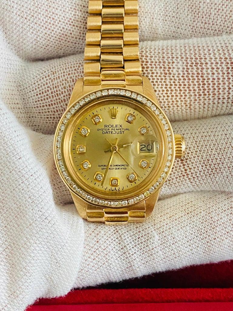 Rolex Oyster Prepetual Datejust Diamond Dial Diamond Bezel Gold Watch  2