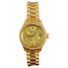 Rolex Oyster Prepetual Datejust Diamond Dial Diamond Bezel Gold Watch