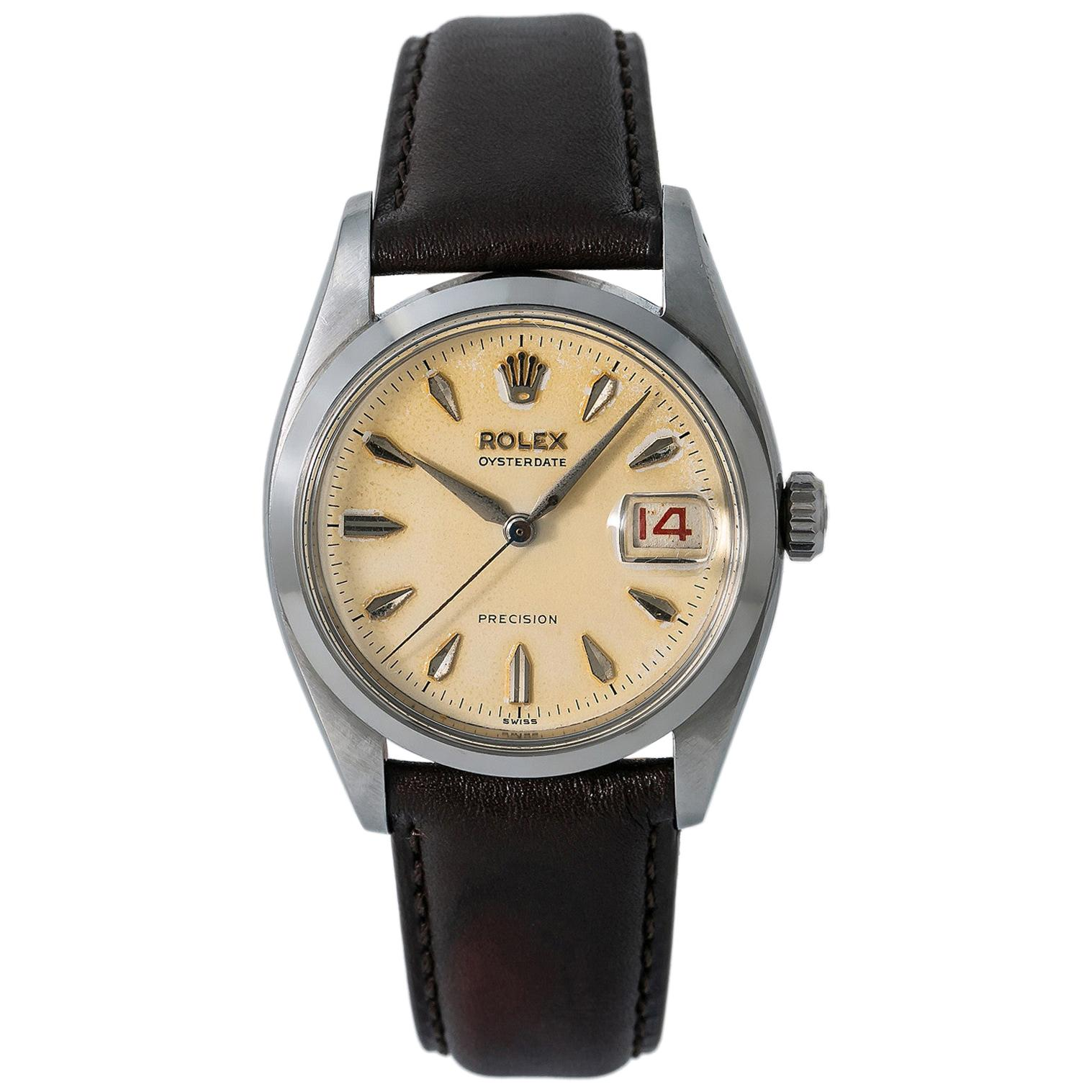 Rolex Oysterdate 6494, Silver Dial, Certified and Warranty