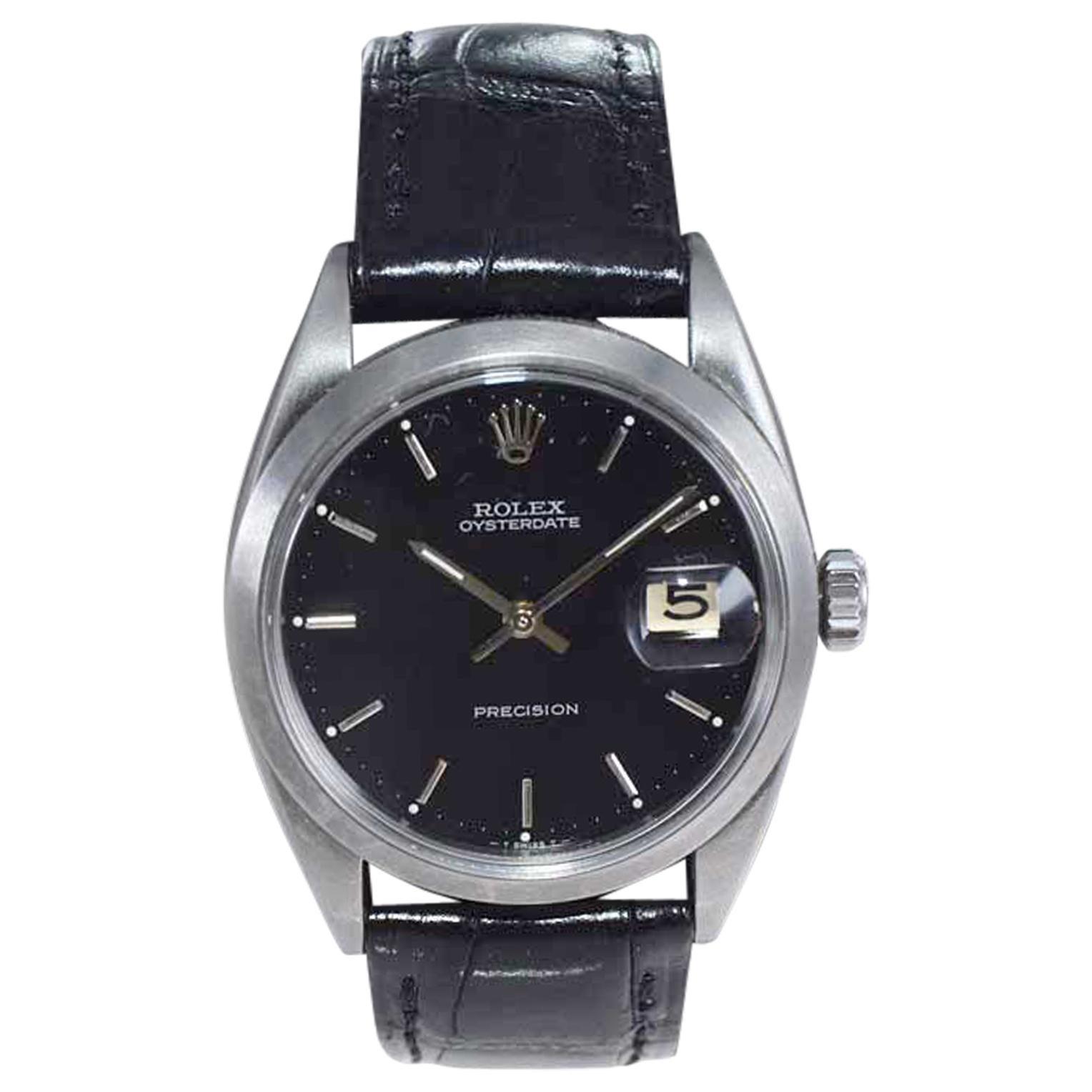 Rolex Oysterdate Black Dial Watch, circa 1969 with a Custom Carbonized Finish