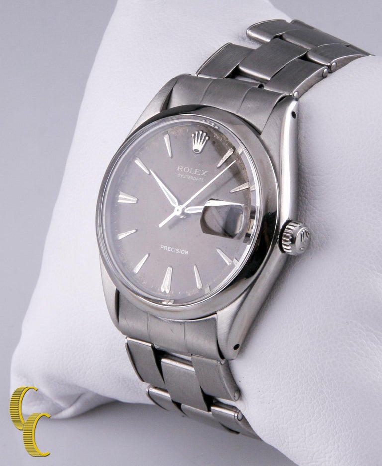 Rolex Oysterdate Precision 6694 Men's Stainless Steel Watch Brown Tropical Dial In Fair Condition For Sale In Sherman Oaks, CA