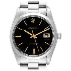 Rolex OysterDate Precision Black Dial Steel Vintage Men's Watch 6694