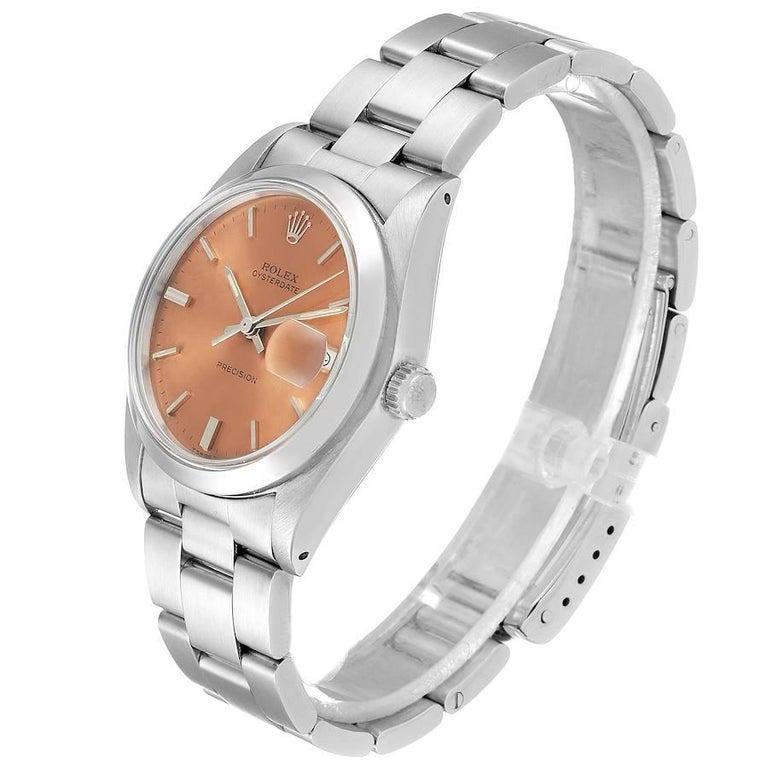 Rolex OysterDate Precision Bronze Dial Steel Vintage Men's Watch 6694 In Good Condition For Sale In Atlanta, GA