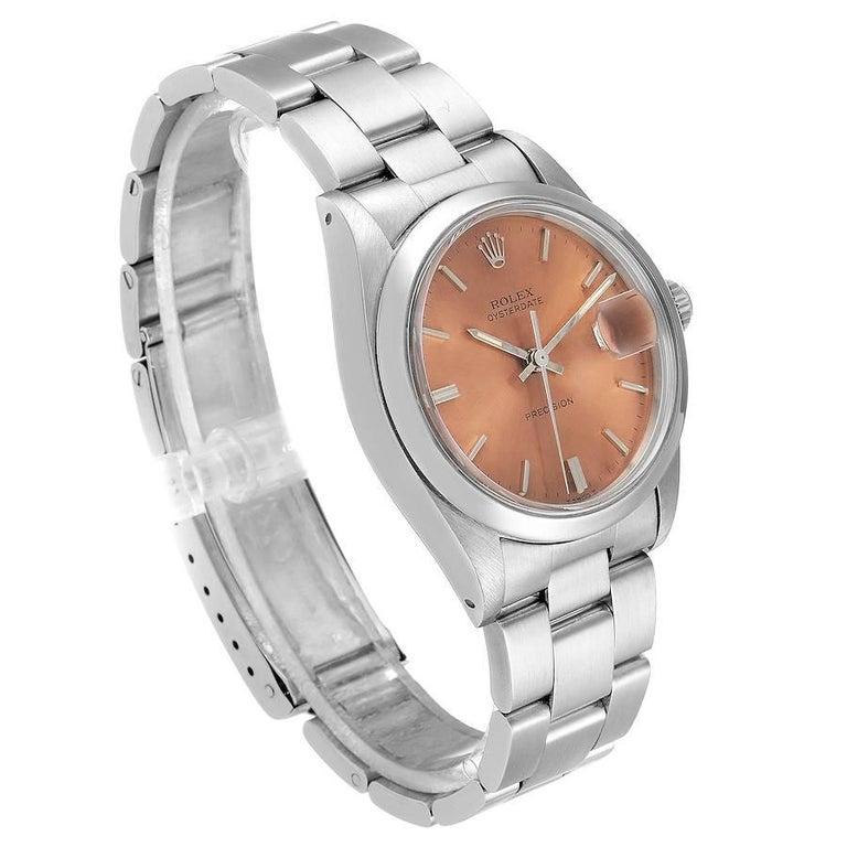 Rolex OysterDate Precision Bronze Dial Steel Vintage Men's Watch 6694 For Sale 1