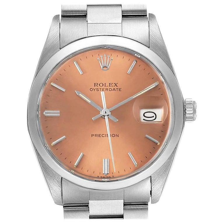 Rolex OysterDate Precision Bronze Dial Steel Vintage Men's Watch 6694 For Sale