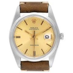 Rolex OysterDate Precision Brown Strap Steel Vintage Men's Watch 6694