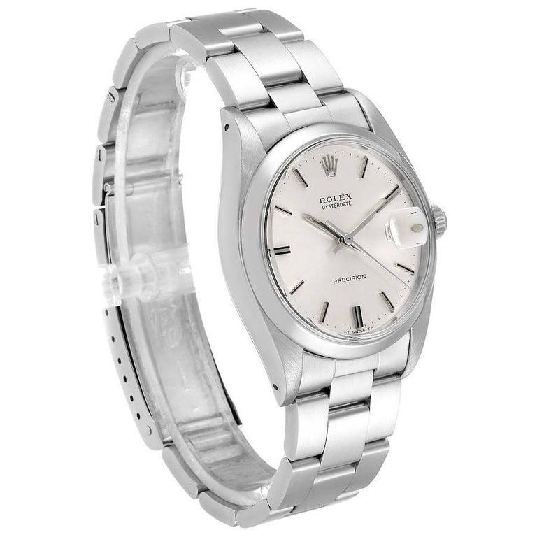 Rolex OysterDate Precision Silver Dial Steel Vintage Men's Watch 6694 In Good Condition For Sale In Atlanta, GA