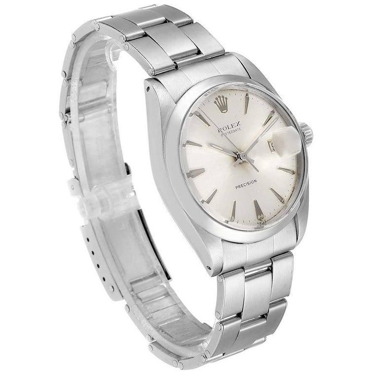Rolex OysterDate Precision Silver Dial Steel Vintage Men's Watch 6694 In Good Condition In Atlanta, GA