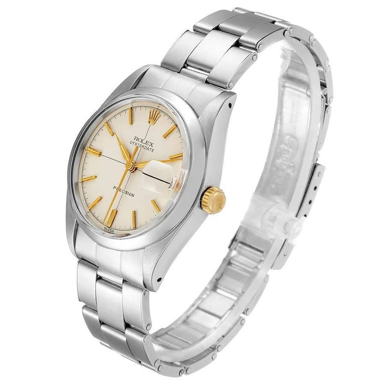 Rolex OysterDate Precision Silver Dial Steel Vintage Men's Watch 6694 For Sale 1
