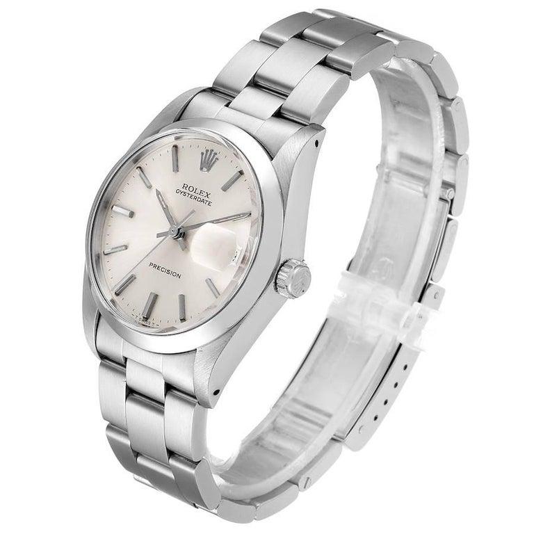 Rolex OysterDate Precision Silver Dial Steel Vintage Men's Watch 6694 1