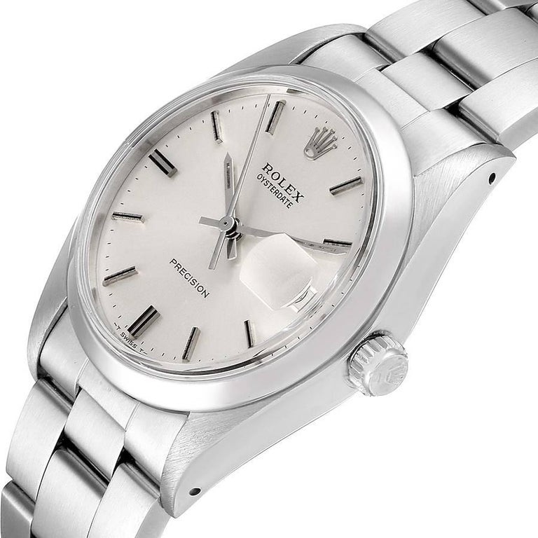 Rolex OysterDate Precision Silver Dial Steel Vintage Men's Watch 6694 For Sale 2