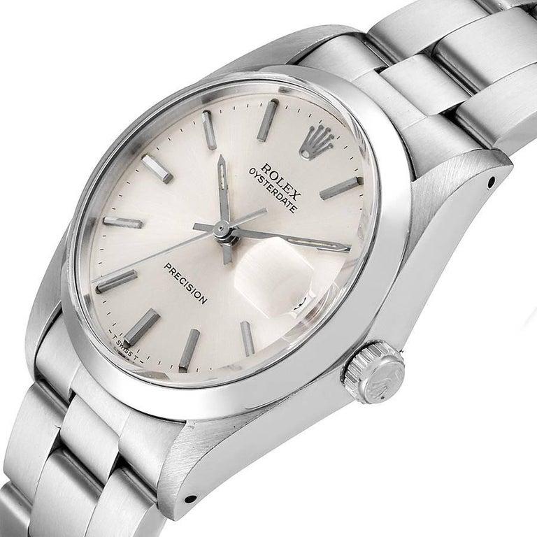 Rolex OysterDate Precision Silver Dial Steel Vintage Men's Watch 6694 2