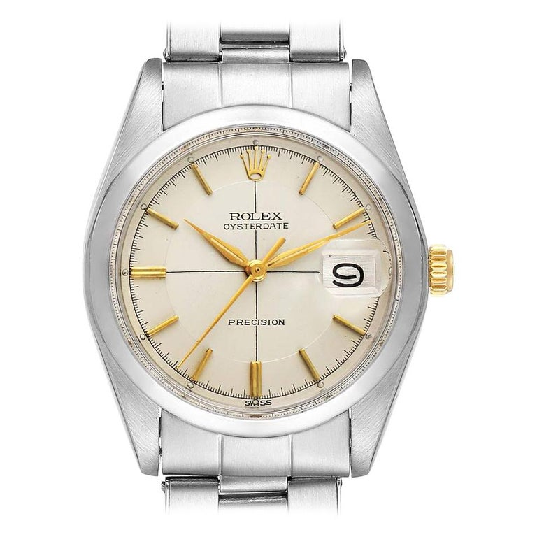 Rolex OysterDate Precision Silver Dial Steel Vintage Men's Watch 6694 For Sale