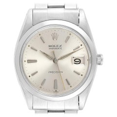 Rolex OysterDate Precision Silver Dial Steel Vintage Men's Watch 6694