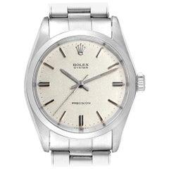 Rolex OysterDate Precision Silver Dial Steel Vintage Men's Watch 6694