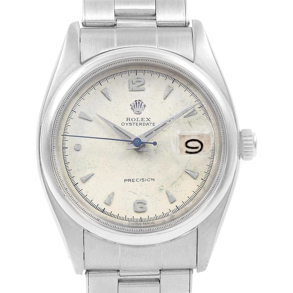 Rolex Oysterdate Precision Smooth Bezel Steel Vintage Men's Watch 6494