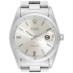 Rolex OysterDate Precision Steel Silver Dial Vintage Men's Watch 6694
