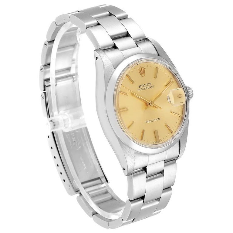 Rolex OysterDate Precision Steel Vintage Men's Watch 6694 In Good Condition In Atlanta, GA