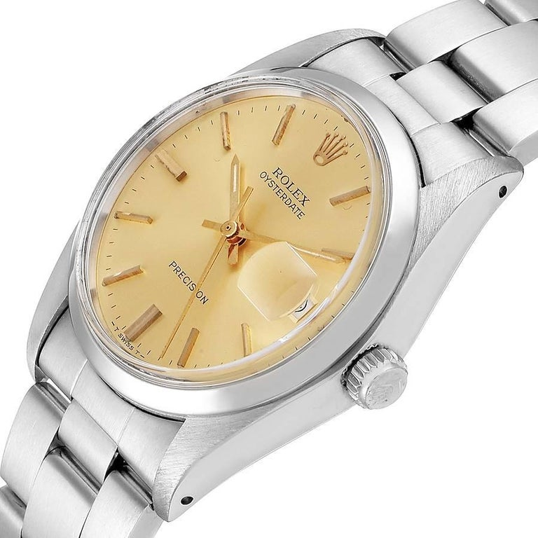 Rolex OysterDate Precision Steel Vintage Men's Watch 6694 2