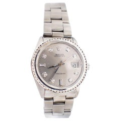Rolex Oysterdate Precision Watch Diamond Bezel and Dial Silver Mint