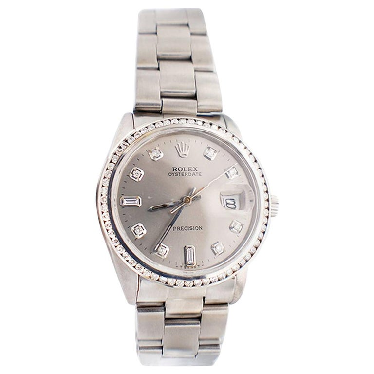 Rolex Oysterdate Precision Watch Diamond Bezel and Dial Silver Mint For Sale