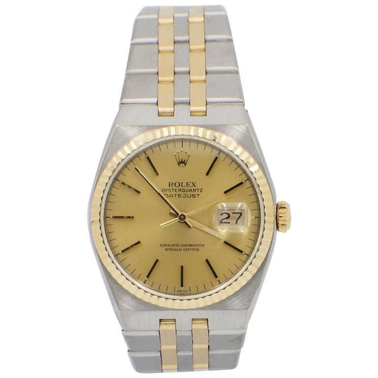 823b1f042dfc Rolex Oysterquartz 17013 Champagne Dial 18 Karat Yellow Gold and Stainless  Steel For Sale
