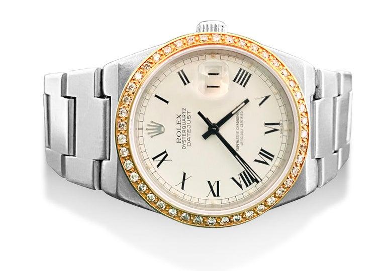 Rose Cut Rolex Oysterquartz Datejust Diamond Bezel For Sale