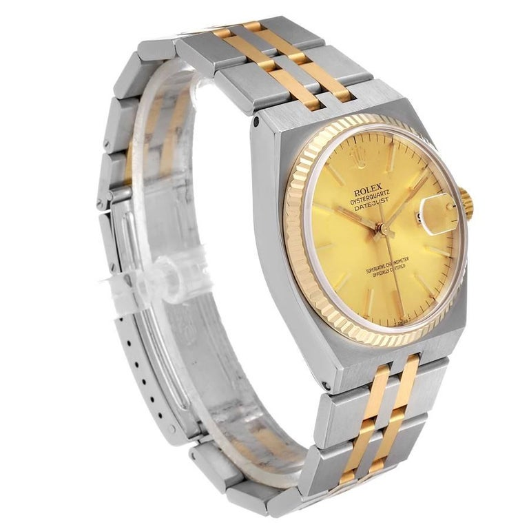 Rolex Oysterquartz Datejust Steel Yellow Gold Men's Watch 17013 In Excellent Condition For Sale In Atlanta, GA
