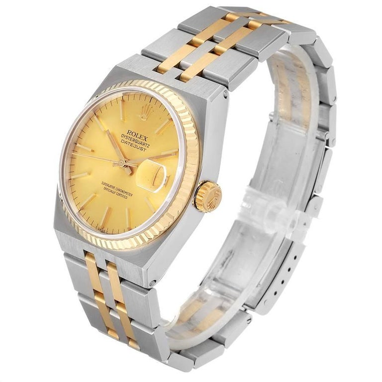 Men's Rolex Oysterquartz Datejust Steel Yellow Gold Men's Watch 17013 For Sale