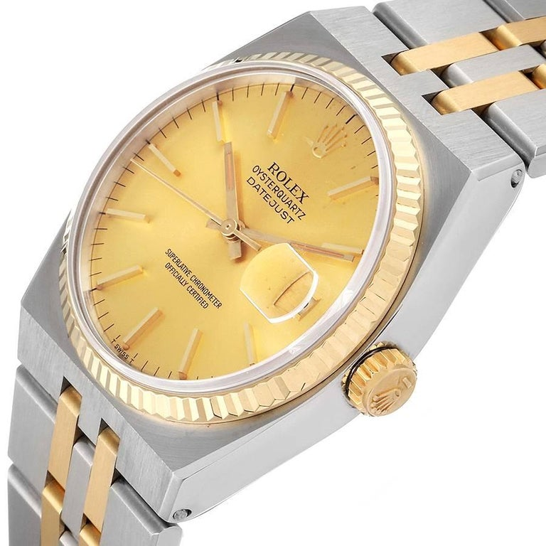 Rolex Oysterquartz Datejust Steel Yellow Gold Men's Watch 17013 For Sale 1