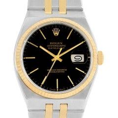 Rolex Oysterquartz Datejust Steel Yellow Gold Black Dial Men's Watch 17013