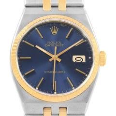 Rolex Oysterquartz Datejust Steel Yellow Gold Blue Dial Men's Watch 17013