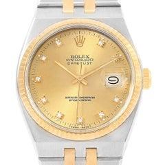 Rolex Oysterquartz Datejust Steel Yellow Gold Diamond Men's Watch 17013
