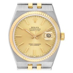 Rolex Oysterquartz Datejust Steel Yellow Gold Men's Watch 17013 Box Papers