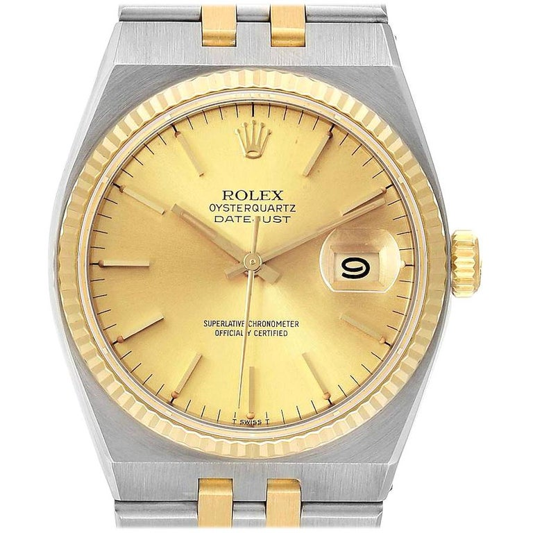 Rolex Oysterquartz Datejust Steel Yellow Gold Men's Watch 17013 For Sale