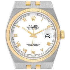 Rolex Oysterquartz Datejust Steel Yellow Gold White Dial Watch 17013 Box