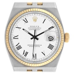 Rolex Oysterquartz Datejust Steel Yellow Gold White Dial Watch 17013