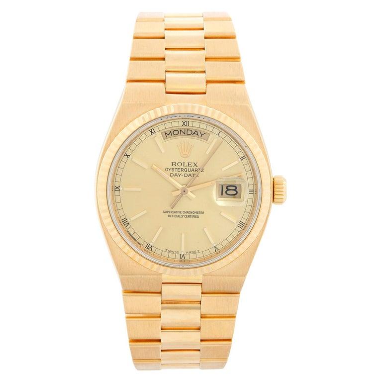 Rolex Oysterquartz Day-Date Men's 18 Karat Gold President Watch 19018 For Sale