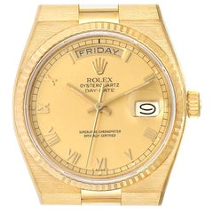 Rolex Oysterquartz President Day-Date Yellow Gold Men's Watch 19018 Box Papers