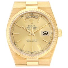 Rolex Oysterquartz President Yellow Gold Champagne Dial Men's Watch 19018