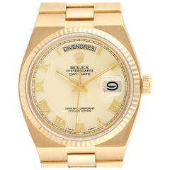 Rolex Oysterquartz President Yellow Gold Ivory Dial Men's Watch 19018