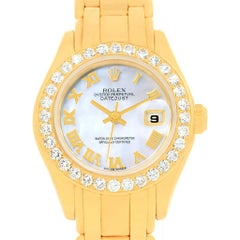 Rolex Pearlmaster 18 Karat Gold Mother of Pearl Diamond Ladies Watch 69298