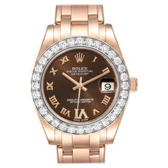 Rolex Pearlmaster 34 18k Rose Gold Diamond Ladies Watch 81285 Box Card